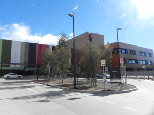 View from the carpark towards the front entrance of the Centenary Hospital for Women and Children